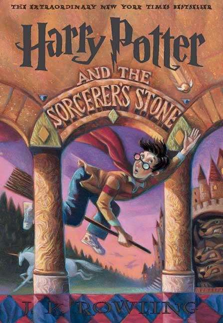 Collection sample book cover Harry Potter and the Sorcerer's Stone, Harry potter wearing a cape flying on a broomstick between two pillars