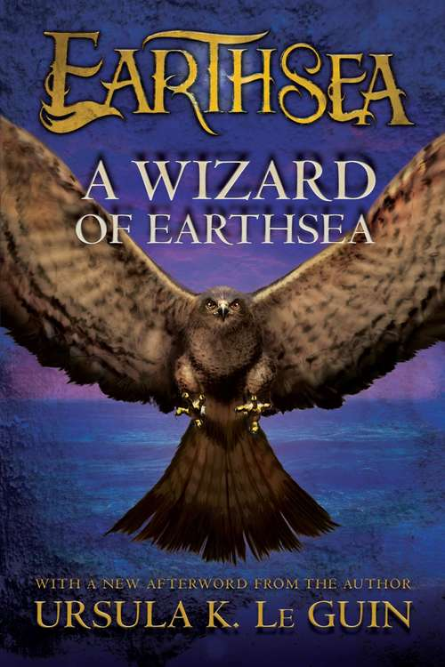 Collection sample book cover Earthsea #1, A Wizard of Earthsea, a giant hawk on a purple background