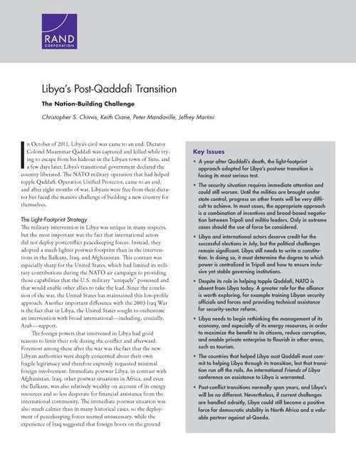 Libya's Post-Qaddafi Transition: The Nation-Building Challenge