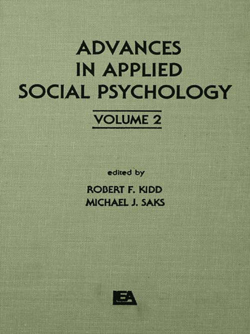 Advances in Applied Social Psychology: Volume 2 (Applied Psychology Series)