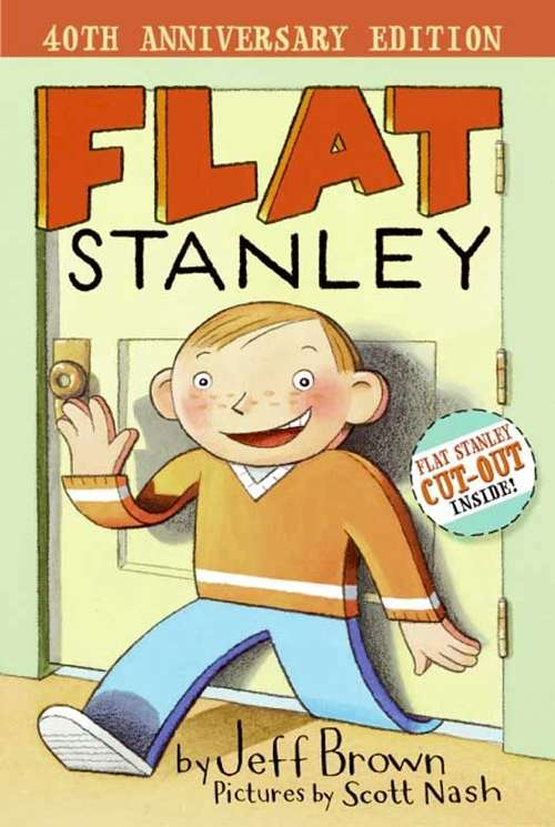 Collection sample book cover  Flat Stanley, a paper cutout of a boy waves