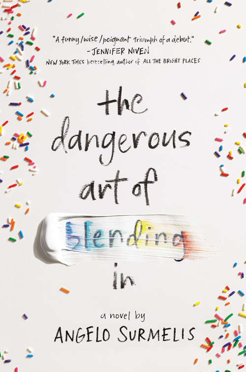 Collection sample book cover The Dangerous Art of Blending In, sprinkles on a white background