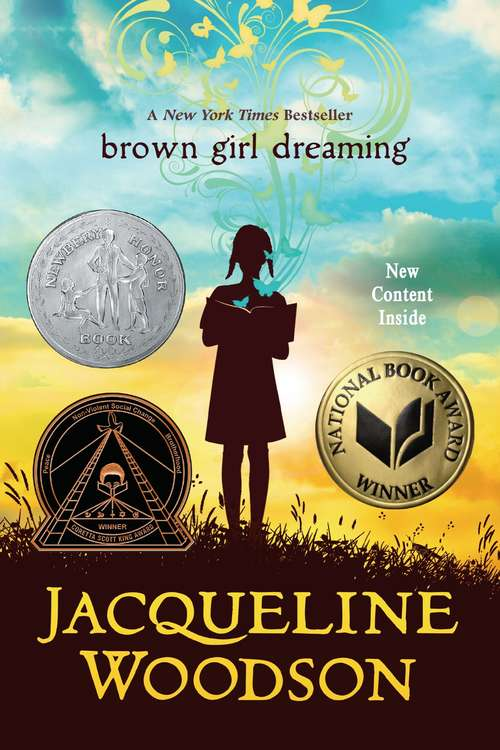 Collection sample book cover Brown Girl Dreaming, a girl standing on a hill at sunset
