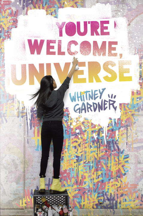 Collection sample book cover You're Welcome, Universe, a girl spray painting a graffiti mural