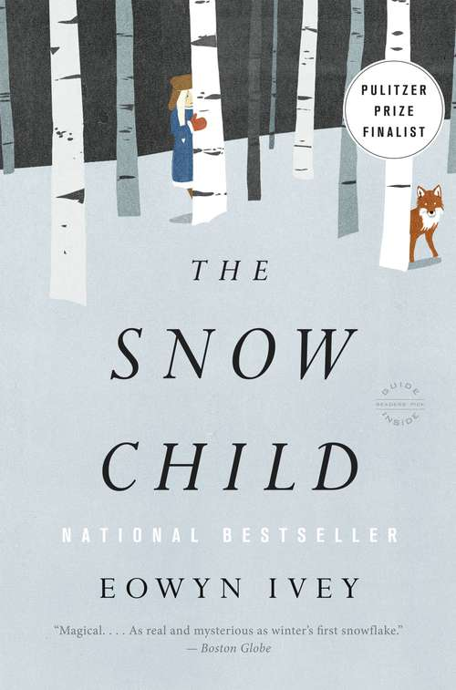 Collection sample book cover The Snow Child, illustration of two people on snowy hill in woods