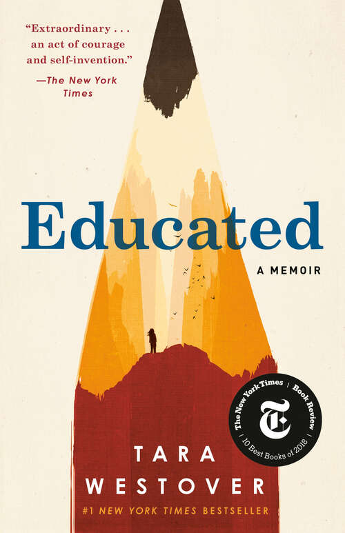 Collection sample book cover Educated by Tara Westover, an illustration of a sharpened red pencil on a white background with the title 'Educated' in blue font