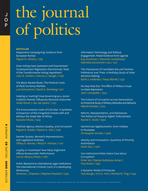The Journal of Politics, volume 82 number 4 (October 2020)