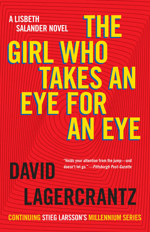 Collection sample book cover The Girl Who Takes an Eye for an Eye, red swirly background with yellow typeface