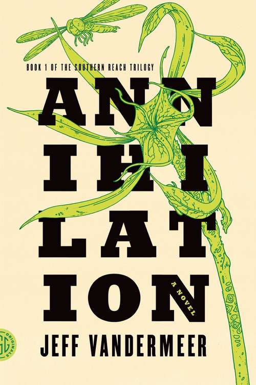 Collection sample book cover Annihilation, green plant with black font on a white background