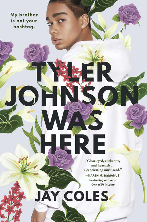 Collection sample book cover Tyler Johnson Was Here, young man with a floral background