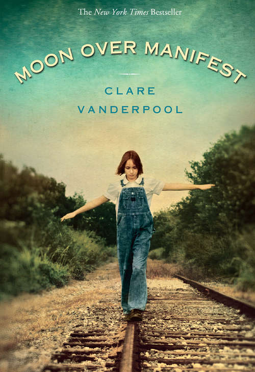Collection sample book cover Moon over Manifest, a young child walking on a railroad track by themself