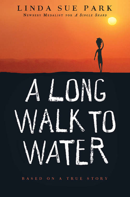 Collection sample book cover A Long Walk to Water, illustration of person walking in the desert