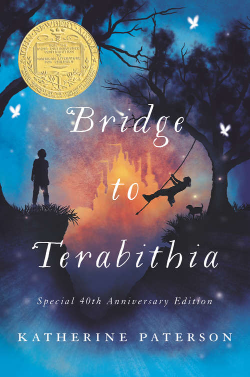 Collection sample book cover Bridge to Terabitha, silhouettes of boy and girl playing outside