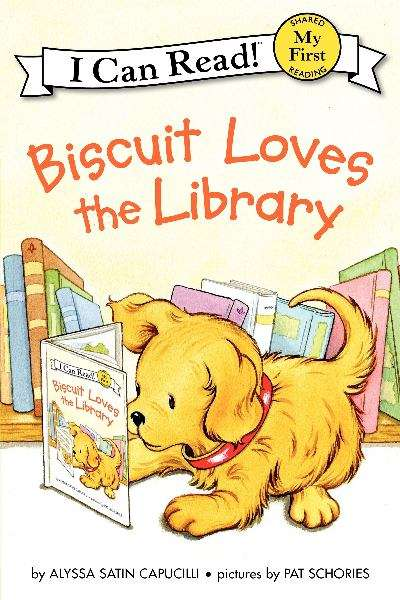 Biscuit Loves the Library. Biscuit, a tiny a dog, reads a book at the library.