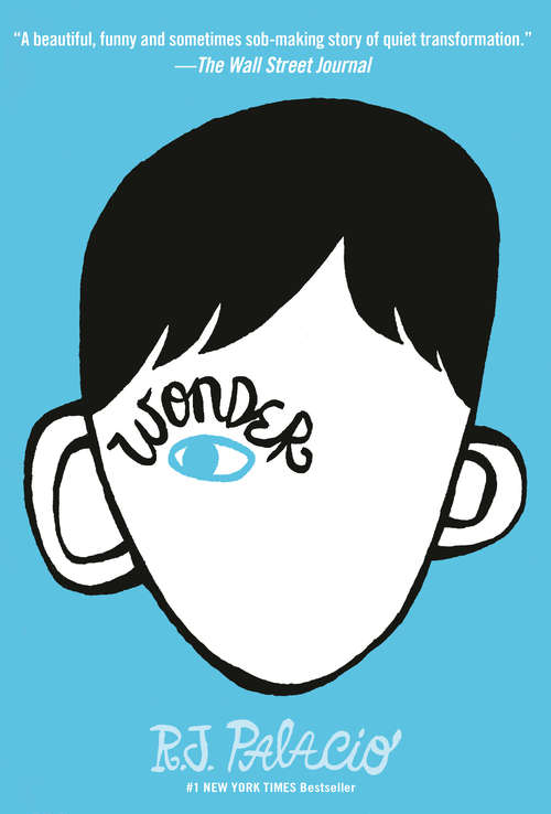 Collection sample book cover Wonder, face cartoon face with only one blue eye and black hair