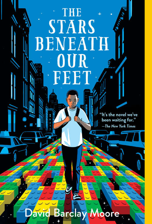 Collection sample book cover The Stars Beneath Our Feet, boy walking down a sidewalk made of legos