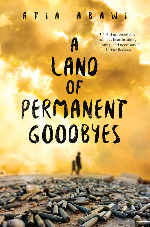 Collection sample book cover A Land of Permanent Goodbyes, two figures walk in the rubble at dusk