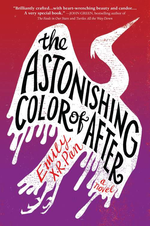 Collection sample book cover The Astonishing Color of After, white bird on a red and purple background