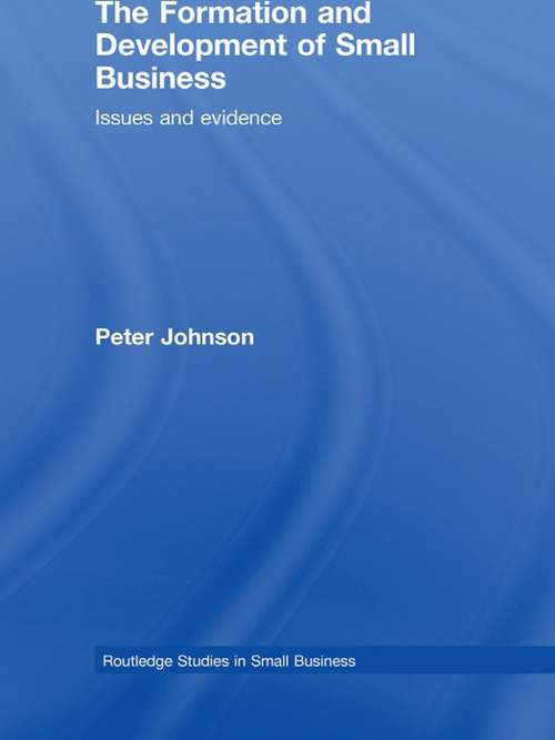 The Formation and Development of Small Business: Issues and Evidence (Routledge Studies In Small Business Ser. #Vol. 12)
