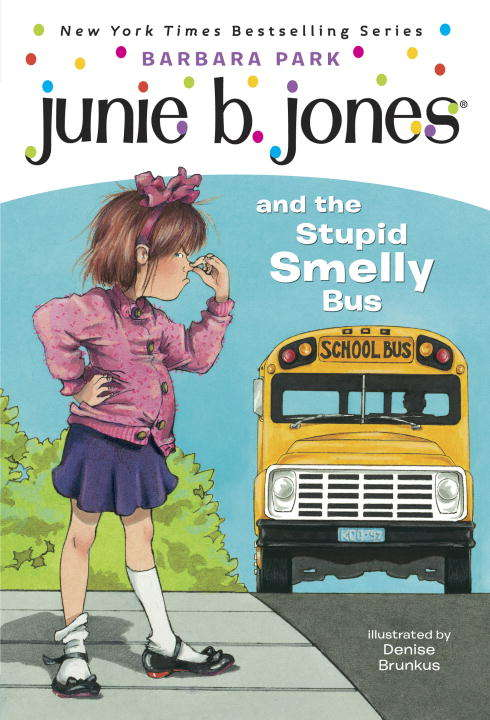 Collection sample book cover Junie B. Jones, a young girl holding her nose with a school bus in the background