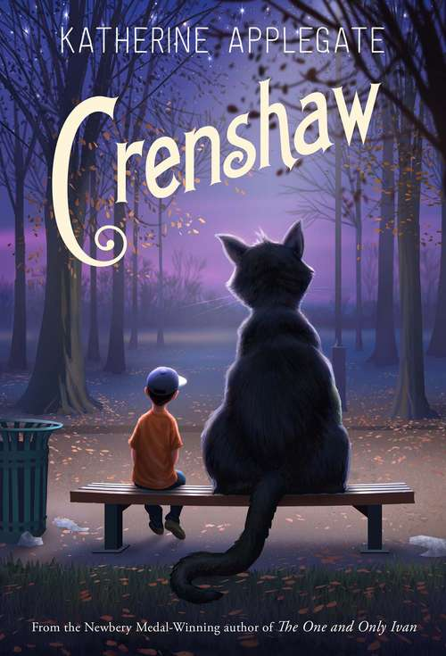 Collection sample book cover Crenshaw, a boy and a giant cat sitting on a park bench