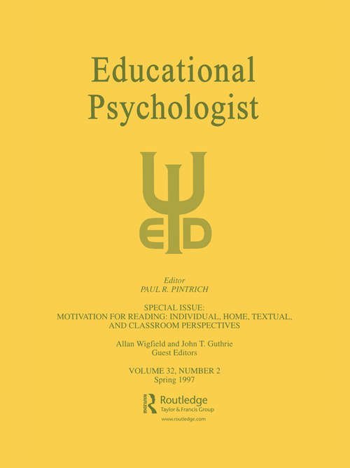 Motivation for Reading: A Special Issue of educational Psychologist