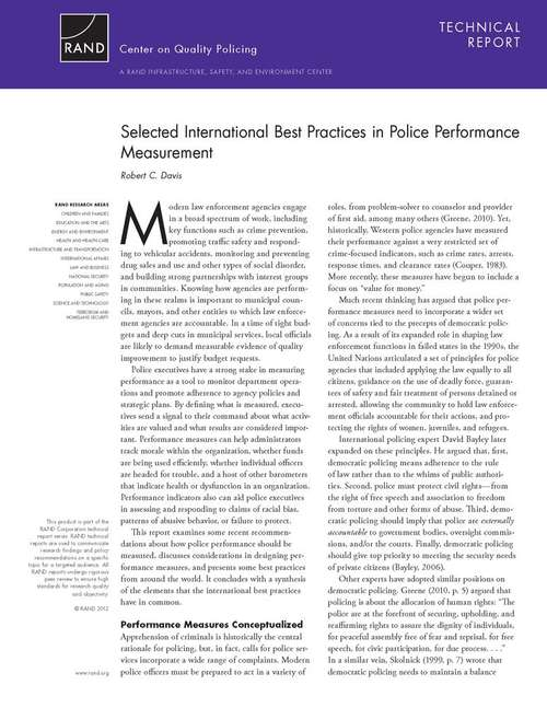 Selected International Best Practices in Police Performance Measurement
