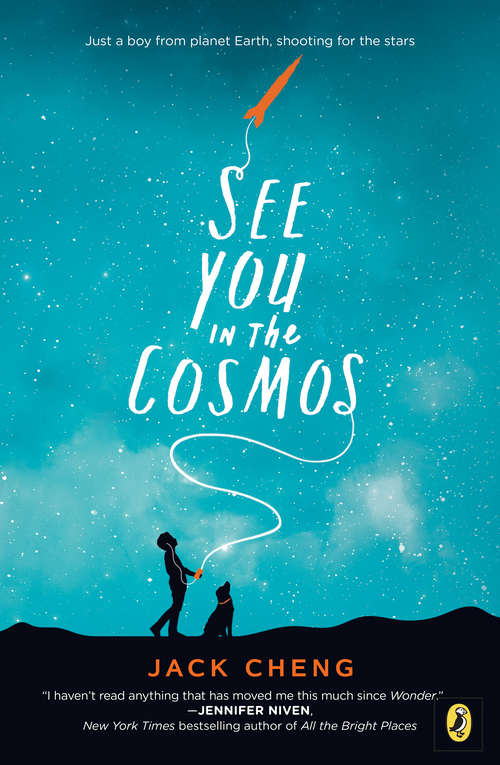 Collection sample book cover See You in the Cosmos by Jack Cheng, a boy and his dog shooting a rocket at night