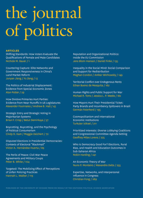 The Journal of Politics, volume 82 number 1 (January 2020)