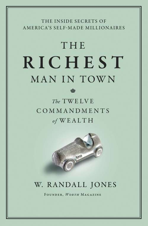 Collection sample book cover The Richest Man in Town, silver car game piece on a green background