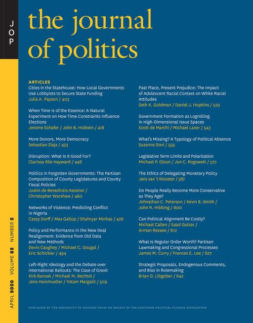 The Journal of Politics, volume 82 number 2 (April 2020)