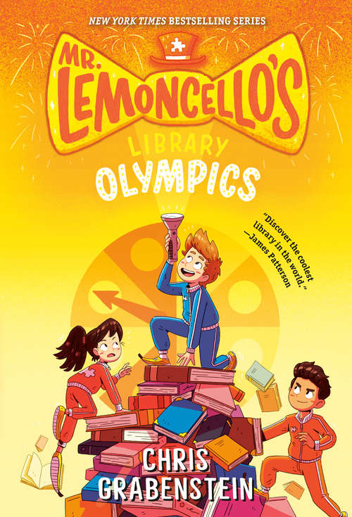 Collection sample book cover Escape from Mr. Lemoncello's Library, shadows of people reading, dancing, or playing games