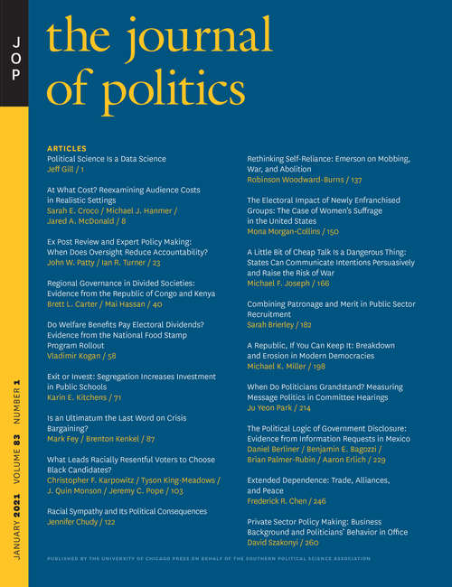 The Journal of Politics, volume 83 number 1 (January 2021)