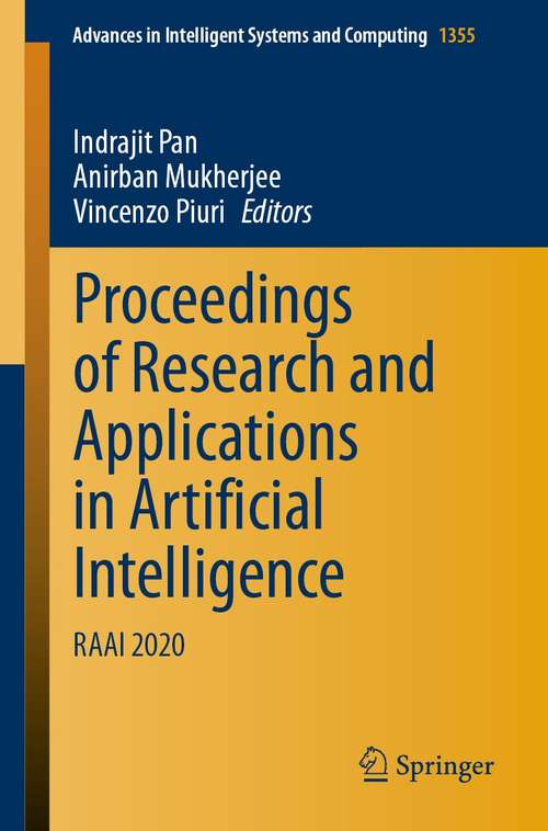 Proceedings of Research and Applications in Artificial Intelligence: RAAI 2020 (Advances in Intelligent Systems and Computing #1355)