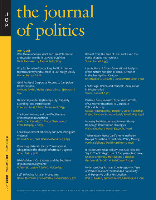 The Journal of Politics, volume 82 number 3 (July 2020)