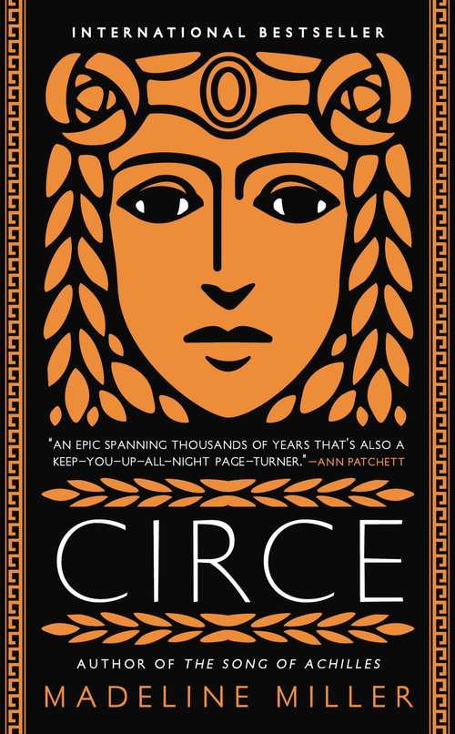 Collection sample book cover Circe, illustrated portrait of an Ancient Greek woman's on a black background