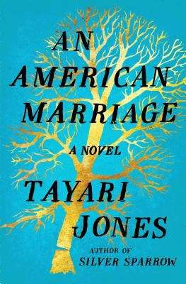 Collection sample book cover An American Marriage, a gold tree on a teal background